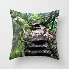 Steps in the forest Throw Pillow