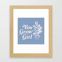 You Grow Girl Blue & Cream Framed Art Print