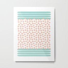 Mint Stripes & Pink Dots Metal Print