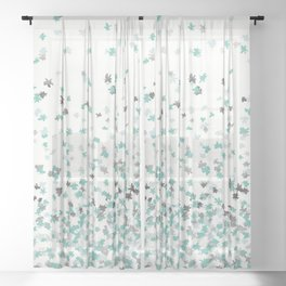 Floating Confetti - Cream Mint and Silver Sheer Curtain
