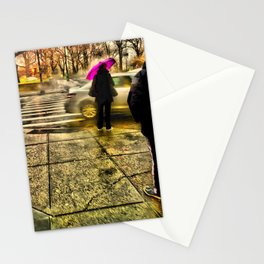 Rainy Street Crossing (c hdr) Stationery Cards