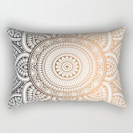 Gold Bronze Mandala Pattern Illustration Rectangular Pillow