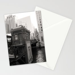 Black and White Chicago River Boat House Photography Stationery Cards