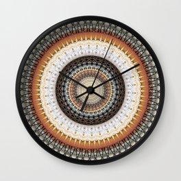 Brown Ink Boho Mandala Wall Clock