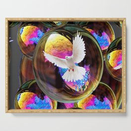 SURREAL WHITE DOVES & IRIDESCENT  SOAP BUBBLES Serving Tray