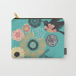 Birds & Bees - Turquoise Carry-All Pouch