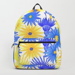 Modern blue yellow watercolor hand painted flowers Backpack