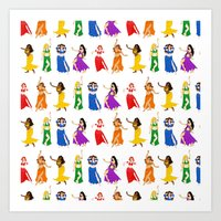 Belly Dancers - Rainbow Colors Art Print