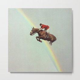 Horse over rainbow Metal Print