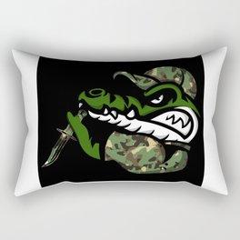 Crocodile Army Camo Knife Rectangular Pillow
