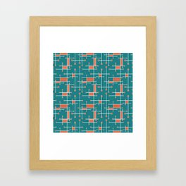 Intersecting Lines in Teal, Coral and White Framed Art Print