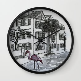 flamingo in the flooded streets of Charleston South Carolina Wall Clock