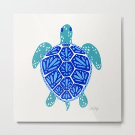 Sea Turtle – Blue Palette Metal Print