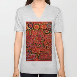 Kuna Indian Men in Canoes Unisex V-Neck