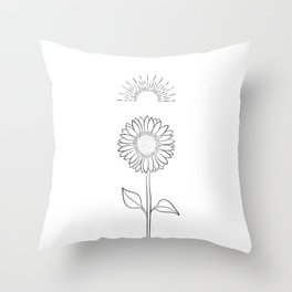 Sunflower Line Drawing Throw Pillow