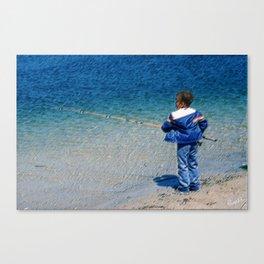 Street Scenes - Kid Fishing Canvas Print