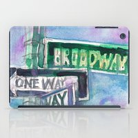broadway iPad Cases featuring Broadway Sign by Dorrie Rifkin Watercolors