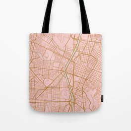 Pink and gold Medellin map, Colombia Tote Bag