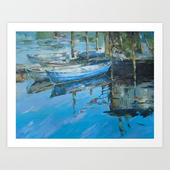 The girl at the pier Art Print