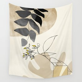 leaves minimal shapes abstract Wall Tapestry