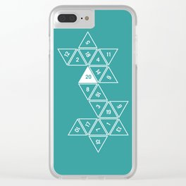 Teal Unrolled D20 Clear iPhone Case