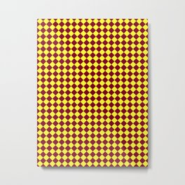 Electric Yellow and Burgundy Red Diamonds Metal Print