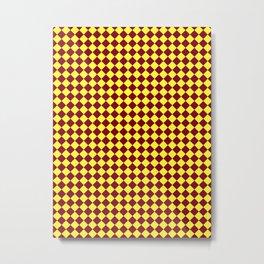 Electric Yellow and Burgundy Red Diamonds Metal Print