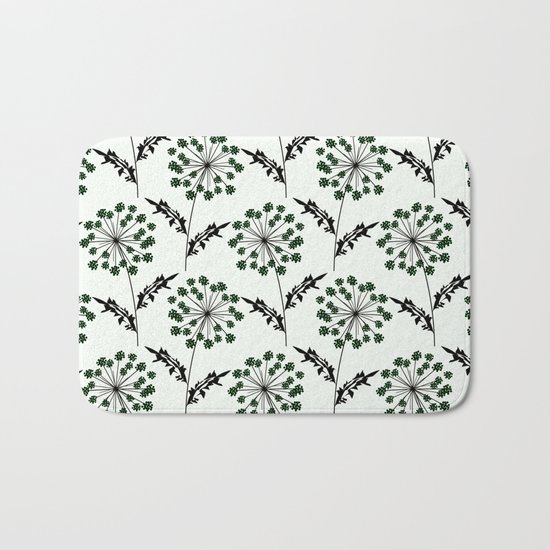 Delicate flowers on a black background. Bath Mat