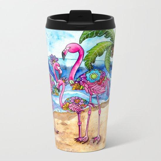 The Flamingo Family's Day at the Beach Metal Travel Mug