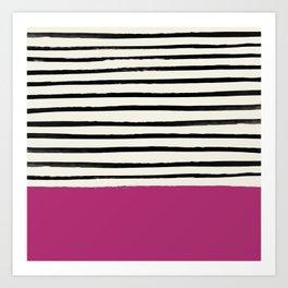 Raspberry x Stripes Art Print