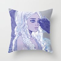 mother of dragons Throw Pillows featuring Mother of Dragons by Natalie Nardozza