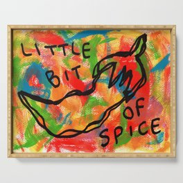Chili Illustration Colorful Kitchen Food Vegan Red Pepper Humor Quote Life Is A Bit Spicy Sometimes Serving Tray