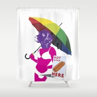 hot dog Shower Curtains featuring Hot dog by doubleudoubleo