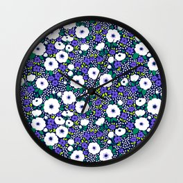 27 Ditsy floral pattern. Dark blue background. Blue and white flowers. Wall Clock