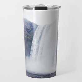 Standing at a Waterfall in Iceland Travel Mug