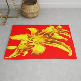 Yellow Day Lilies on Chinese Red  Rug