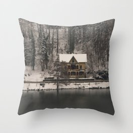 House On Lake Bled Throw Pillow