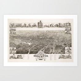 Vintage Pictorial Map of Brockton MA (1882) Art Print