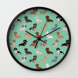 Dachshund dog breed pet pattern doxie coats dapple merle red black and tan Wall Clock