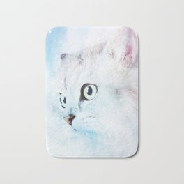 Fluffy starry cat Bath Mat