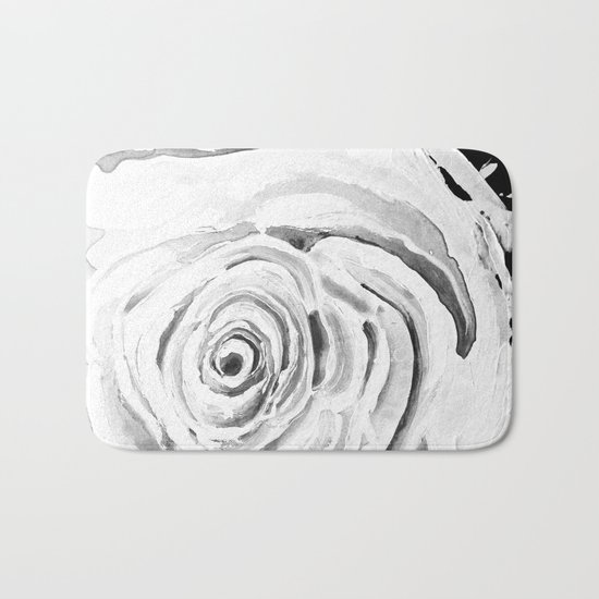 Roses For A Romantic Heart, Black and White Bath Mat