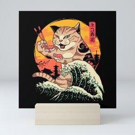 Neko Sushi Wave Mini Art Print