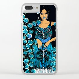 Woman Blue Carnations for the Jazz Singer Clear iPhone Case