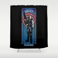 winter soldier Shower Curtains featuring Bucky the Winter soldier by Studio Kawaii