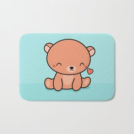 Kawaii Cute Brown Bear With Heart Bath Mat