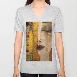 Gustav Klimt portrait The Kiss & The Golden Tears (Freya's Tears) No. 2 Unisex V-Neck