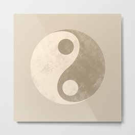 Yin and Yang Peace in Neutral Metal Print