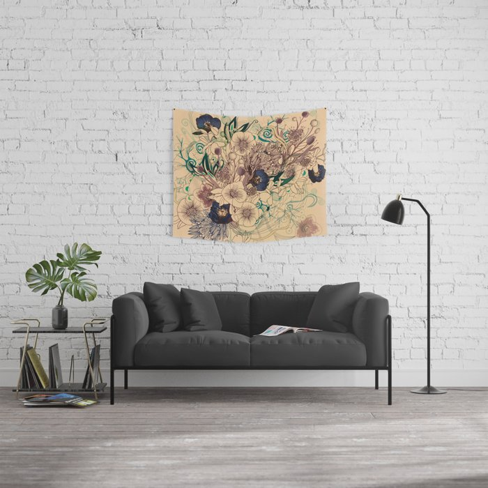 Zentangle Floral mix Wall Tapestry