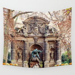 Medici Fountain in Autumn Wall Tapestry