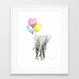 Elephant Watercolor with Balloons Rainbow Hearts Baby Animal Nursery Prints Framed Art Print